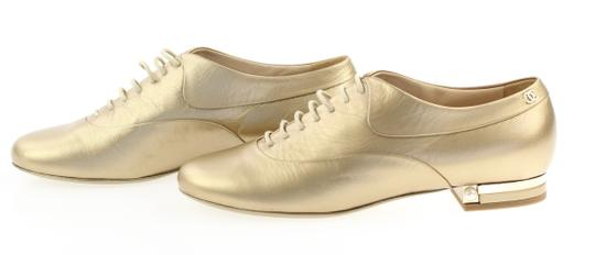 Chanel Pearl Lace Ballerina Gold Flats Image 3