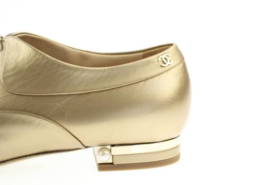 Chanel Pearl Lace Ballerina Gold Flats Image 4