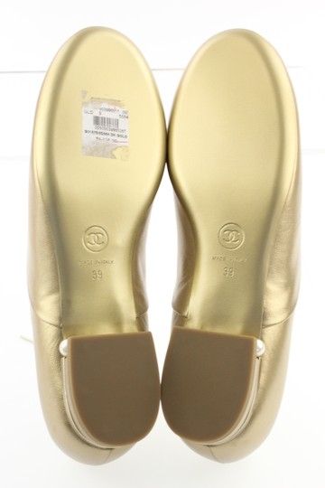 Chanel Pearl Lace Ballerina Gold Flats Image 7