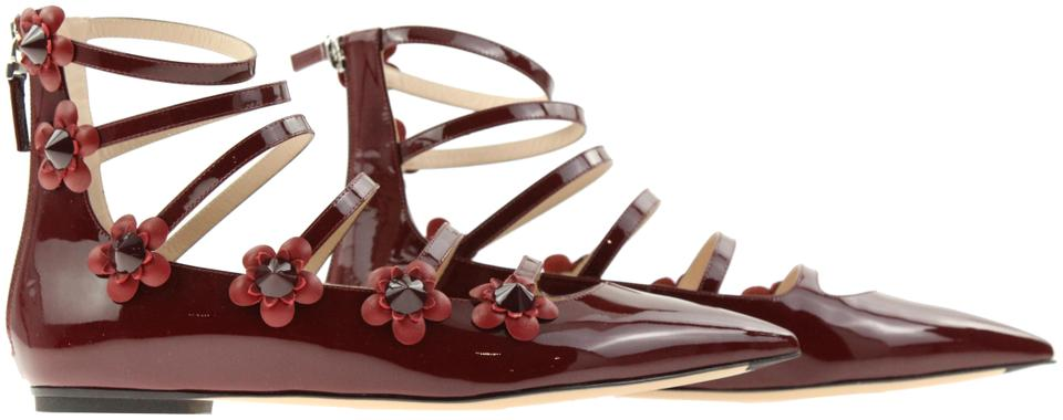 eb9ca0e5240 Fendi Red Flowerland Burgundy Leather Pointed Toe Strappy Zip Sandal Flats  Size EU 39.5 (Approx. US 9.5) Regular (M, B) 62% off retail