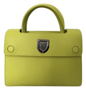 Dior Leather Strap Logo Satchel in Lime