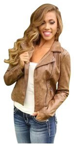 Blu Pepper Hippie Boho Vegan Brown with sweater back Leather Jacket