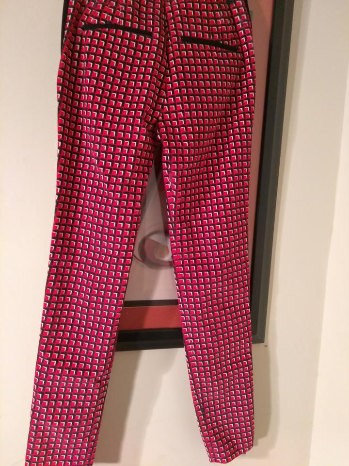 4a246f97e6bd9 paco rabanne Red Black White Made In Italy Corduroy Multicilor Pants ...