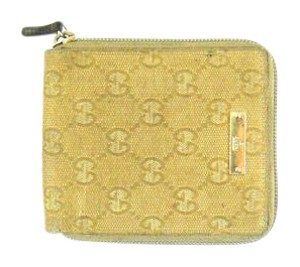 Gucci Compact Zippy GG Canvas Leather Zip Clutch Wallet
