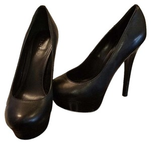 bebe Party High Hidden Platform Black Pumps