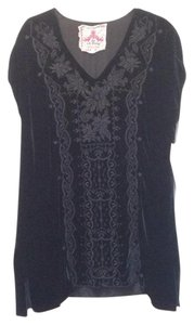 Johnny Was Velvet Boho V-neck Embroidered Tunic