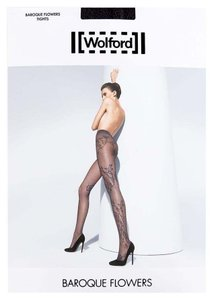 Wolford WOLFORD Black Baroque Flowers Tights Sz L