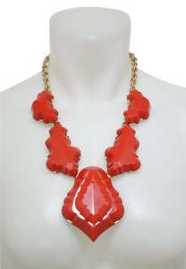 Oscar de la Renta Red Resin Stone Statement Necklace