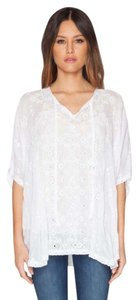 Johnny Was Poncho Floral Eyelet Embroidered Scalloped Tunic