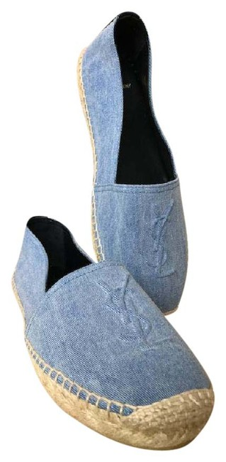 Item - Blue Ysl Yves Monogram Denim Espadrilles 38 Flats Size US 8 Regular (M, B)
