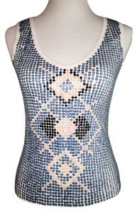 BCBGMAXAZRIA Top White With Blue, Navy & Beige Sequins