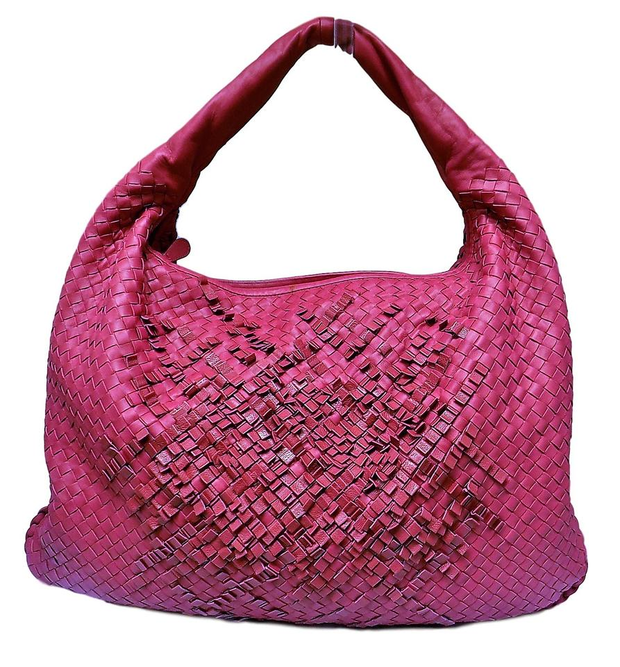 0a182d96ca3f Bottega Veneta Intrecciato Nappa Large Red Fuschia Leather Hobo Bag ...