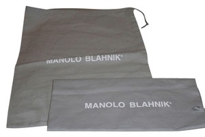 Manolo Blahnik New Set of 2 Manolo Blahnik Sleeper/ Dust Bag / Protective Cover 11 inch width x 14 inch length. Gray with White Logo Drawstring bag.