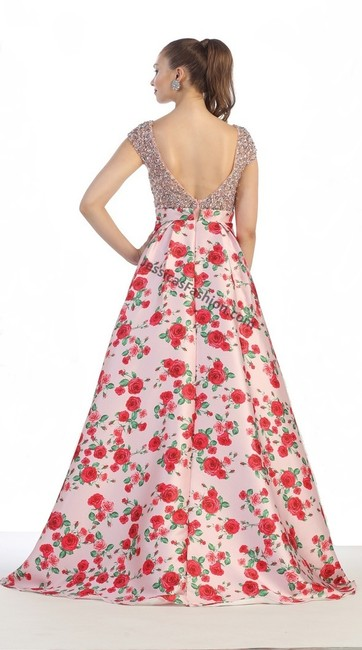 May Queen Satin Illusion Open Back Prom Dress