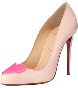 Christian Louboutin Doracora Heart Red Patent Leather Pink Ballerina Pink Pumps