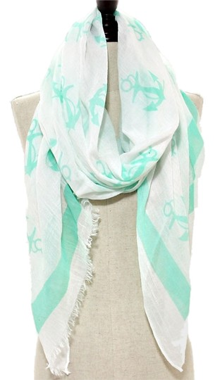 Other Nautical Anchor Mint Green Scarf Pareo Wrap Coverup
