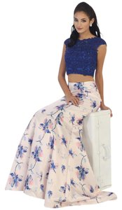 May Queen Two Piece Lace Satin Floral Dress
