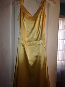Custom Made Yellow Satin Bridesmaid/Mob Dress Size 2 (XS)