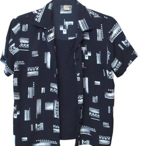 Notations Twinset Easy Care Button Down Shirt Black and White