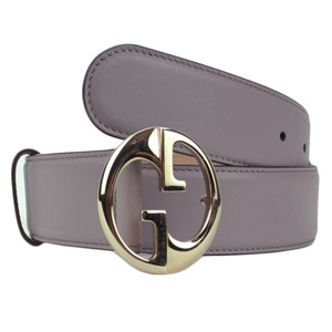 Gucci GUCCI 362728 Lilac Purple Leather Belt with Interlocking G Buckle 80-3