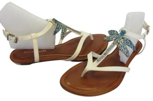 Gianni Bini Size 9.00 M Rhinestone Dragonfly Very Good Condition White, Neutral, Sandals