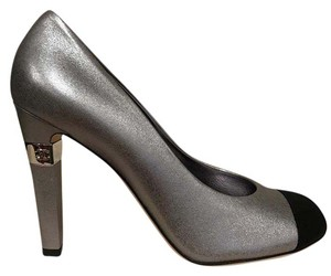 Chanel Metallic Calfskin Leather Logo silver Pumps