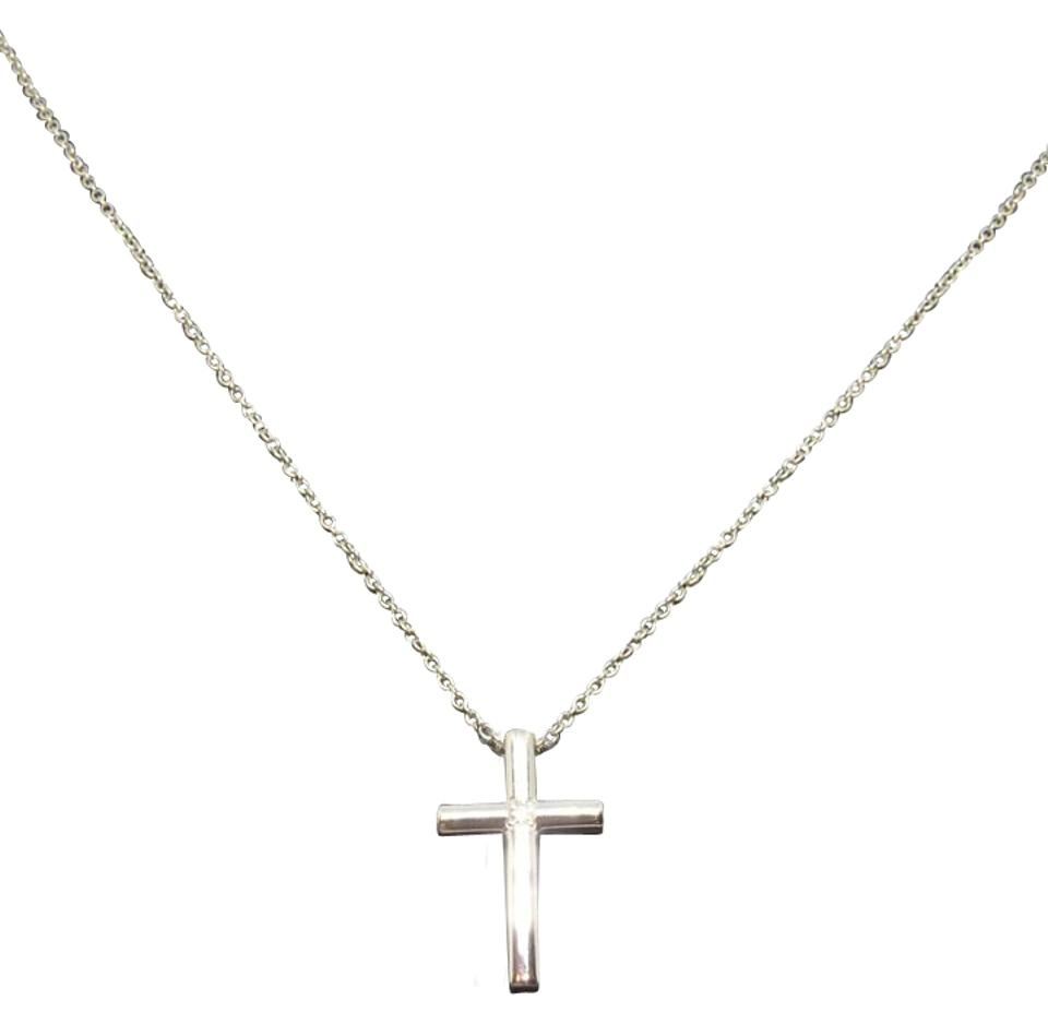Tiffany co white gold and diamond cross with pendant 16 necklace 18k white gold cross with diamond pendant necklace aloadofball Gallery