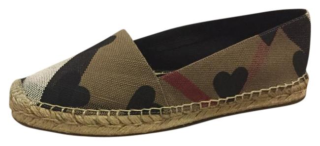 Item - Black Brown Multi Heart Espadrille Flats Size US 7 Regular (M, B)