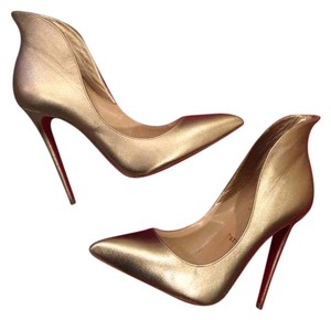 Christian Louboutin Mea Culpa Flared Gold Pumps
