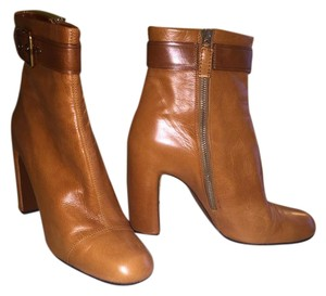Marc Jacobs Soft Leather Zip Closure Chunky High Heels Buckle Strap Stitching Detailing Camel Boots