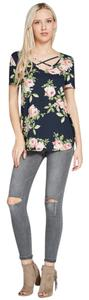 Amor Adore Floral Print Knit T Shirt