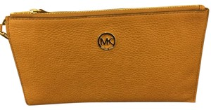Michael Kors Camel Leather Wristlet in Dark Camel