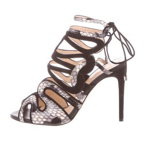 Alexandre Birman Laceup Python Snakeskin Suede Stiletto Black and White Sandals