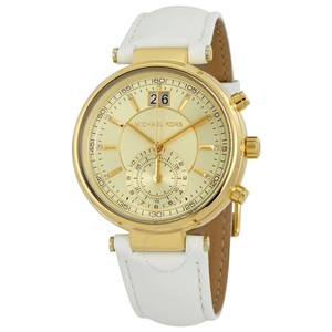 Michael Kors Michael Kors Women's Sawyer White Leather Strap Watch MK2528