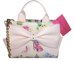 Betsey Johnson Floral Cross Body Satchel in BONE
