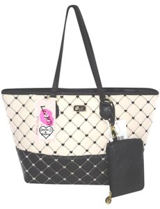 Betsey Johnson Quilted Diamonds Tote in BLACK/BONE