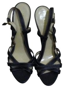 Ralph Lauren Leather Strappy Sandal Black Platforms