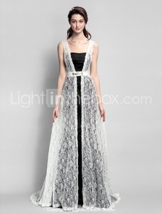 LightInTheBox Black And White Satin Bridesmaid Dress A-line With Crystal Detailing / Train Lace Dress