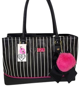 Betsey Johnson Stripe Satchel in BLACK