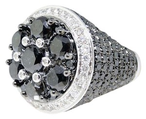 Other White Gold Black Diamond Solitaire Ring Pinky Ring 11.68 Ct