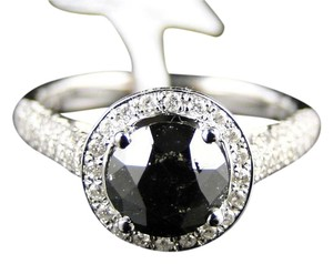 Other 14K White Gold White/Black Diamond Solitaire band Ring 2.25 Ct