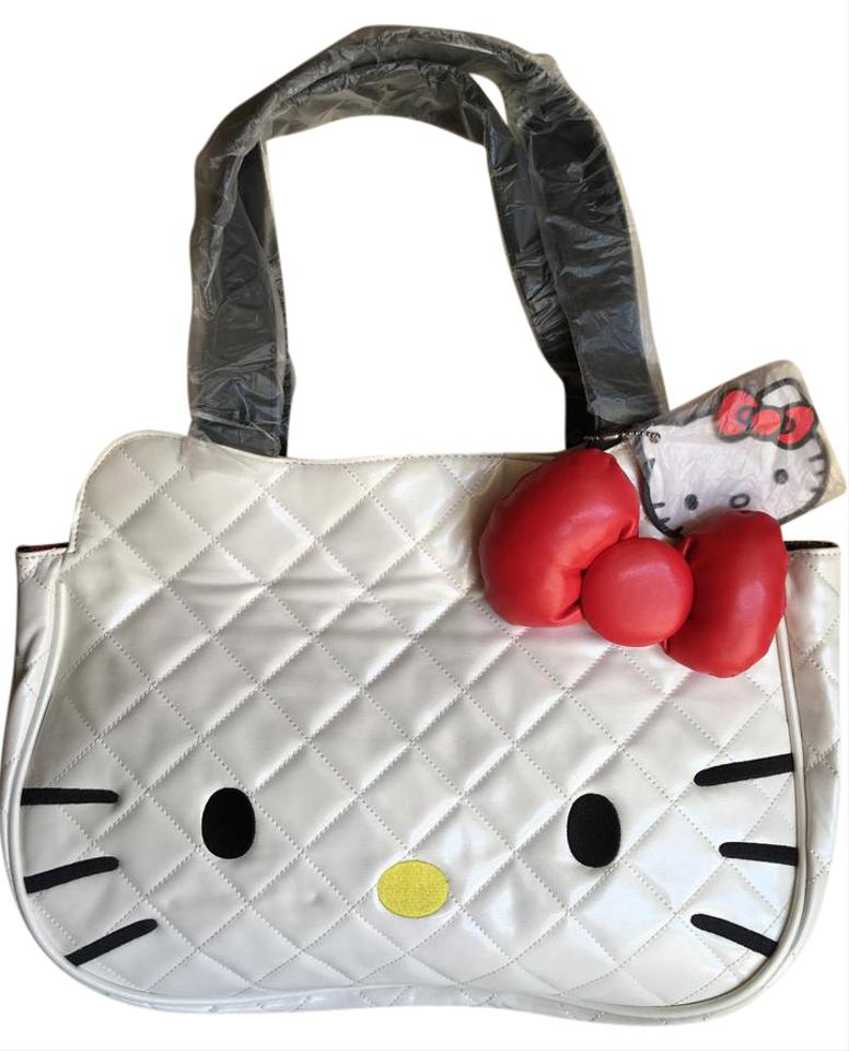 34f3dc7d7 Hello Kitty Quilted Face with 3d Bow Tote White Pvc Shoulder Bag ...
