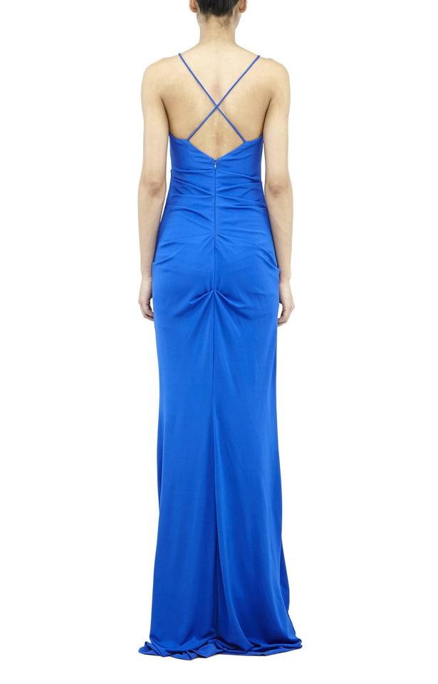 Nicole Miller New Blue Carly Jersey Cowlneck Gown Long Formal Dress ...