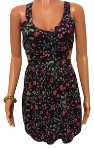 Zara short dress Black with Multicolor Floral Design on Tradesy