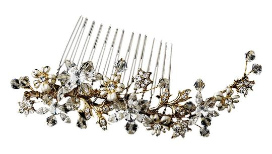 Other Carolanne Striking Gold Austrian Crystal Floral Comb
