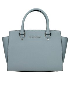 Michael Kors Designer Saffiano Leather Silver-tone Hardware Satchel in Dusty Blue