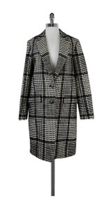 Theory Black Cream Houndstooth Coat