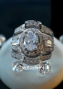 Glamorous Vintage Inspired 5.5 Carat Wedding Ring Set