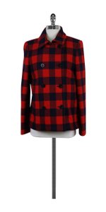 J.Crew Red & Navy Plaid Double Breasted Coat
