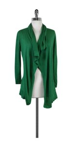 Theory Green Linen Silk Waterfall Cardigan